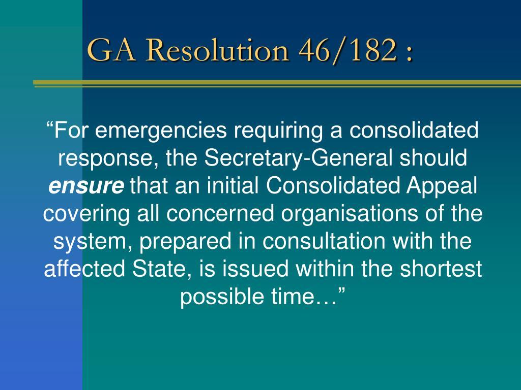 GA Resolution 46/182 :