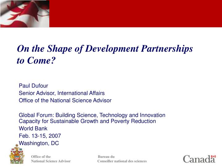 on the shape of development partnerships to come n.