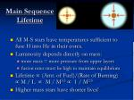main sequence lifetime