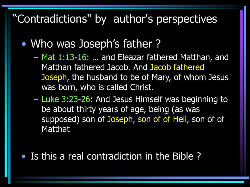 """""""Contradictions"""" by  author's perspectives"""