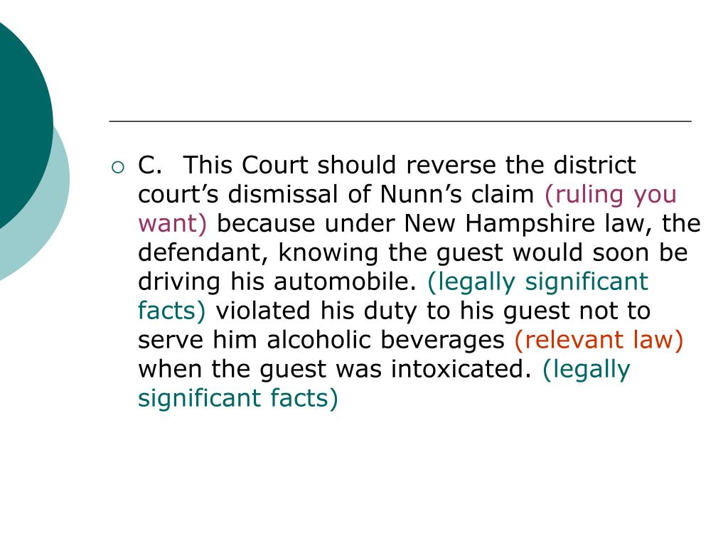 C.	This Court should reverse the district court's dismissal of Nunn's claim