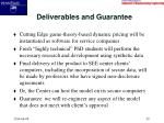 deliverables and guarantee