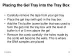 placing the gel tray into the tray box
