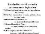 free india started late with environmental legislation