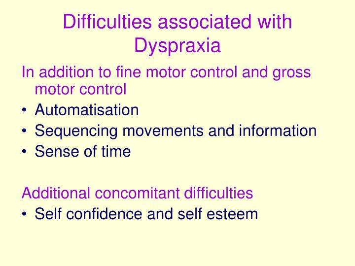 Difficulties associated with Dyspraxia