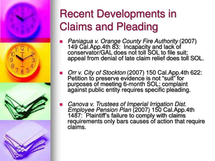 Recent developments in claims and pleading3
