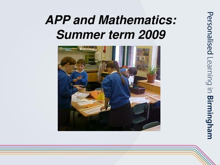 App and mathematics summer term 2009