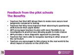 feedback from the pilot schools the benefits