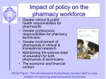impact of policy on the pharmacy workforce