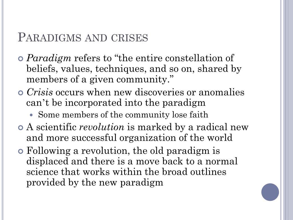 Paradigms and crises