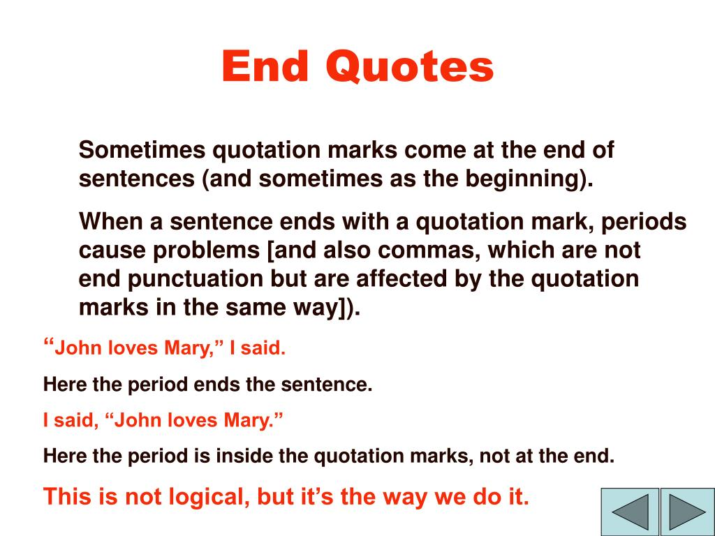 End Quotes