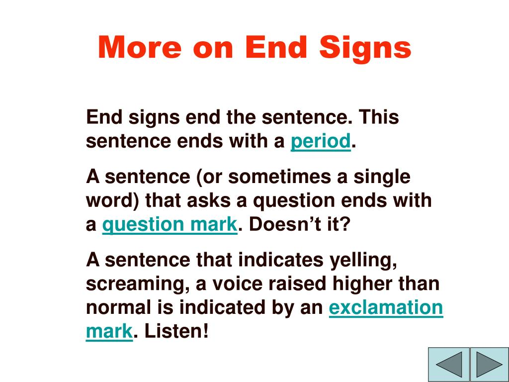 More on End Signs