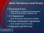 basic sentence level errors