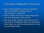 translation adaptation procedure