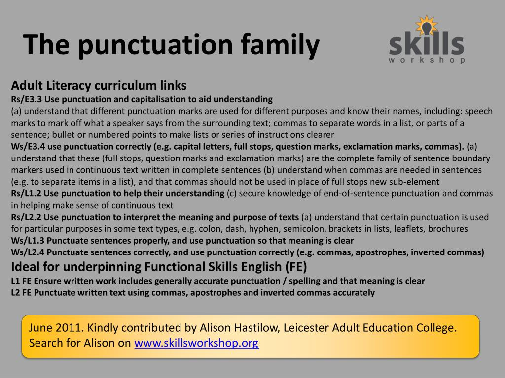 the punctuation family l.