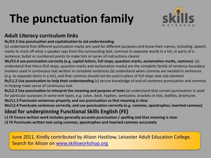 the punctuation family n.