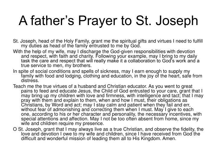 A father's Prayer to St. Joseph