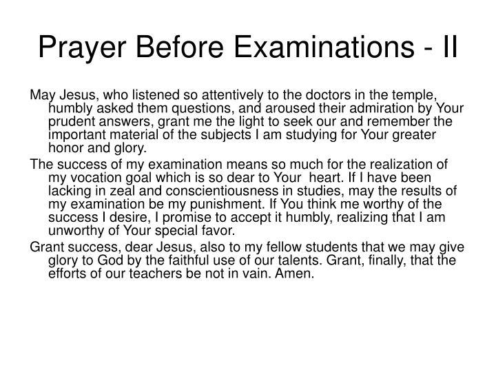 Prayer Before Examinations - II