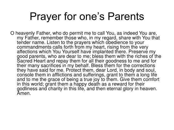 Prayer for one's Parents