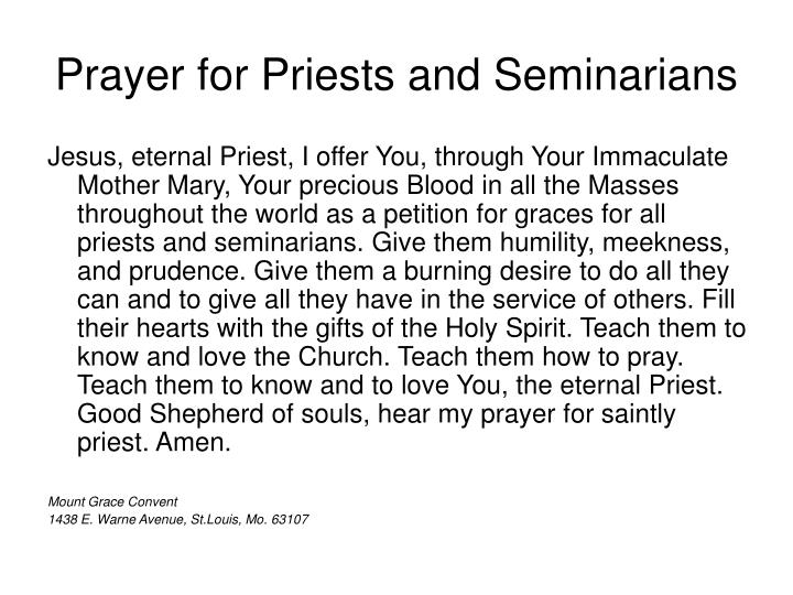 Prayer for Priests and Seminarians