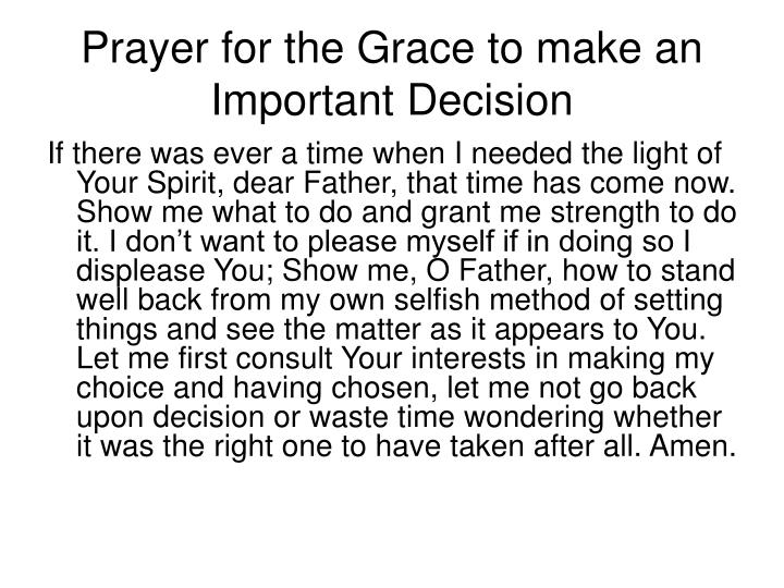 Prayer for the Grace to make an Important Decision