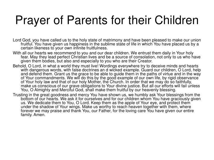 Prayer of Parents for their Children