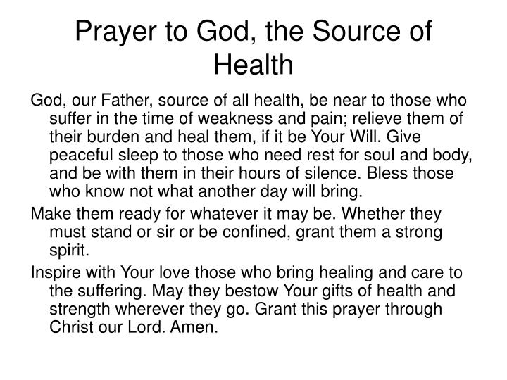 Prayer to God, the Source of Health