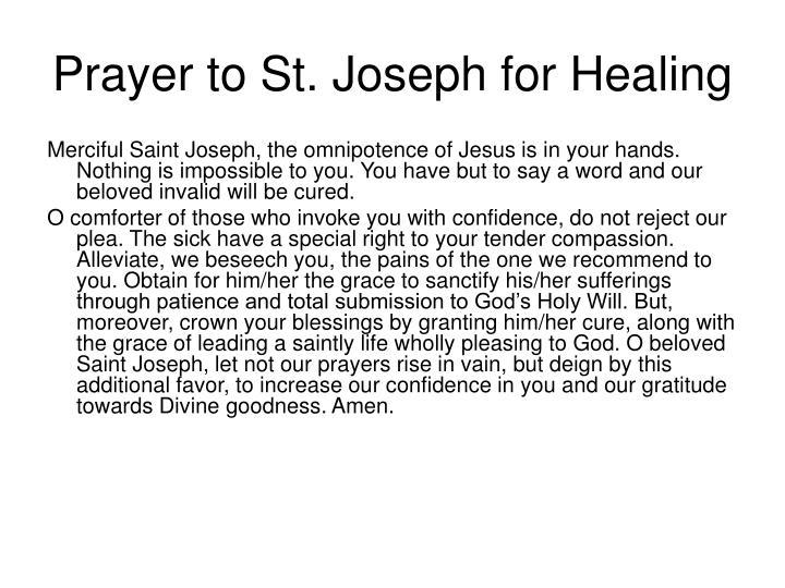 Prayer to St. Joseph for Healing