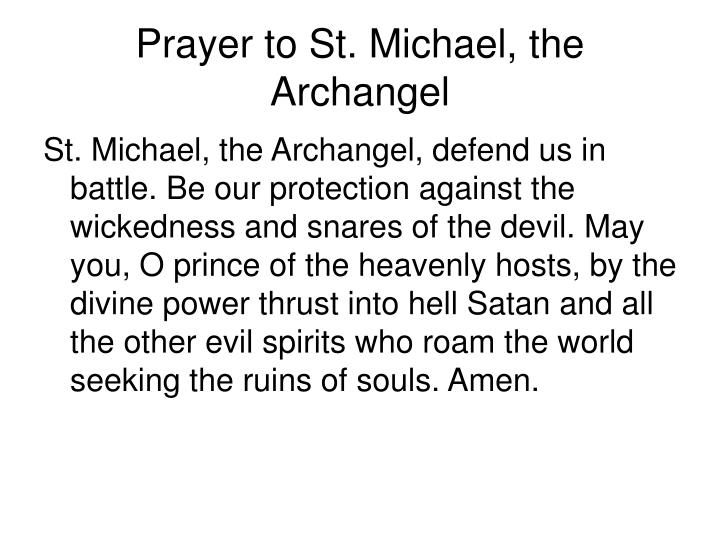 Prayer to St. Michael, the Archangel