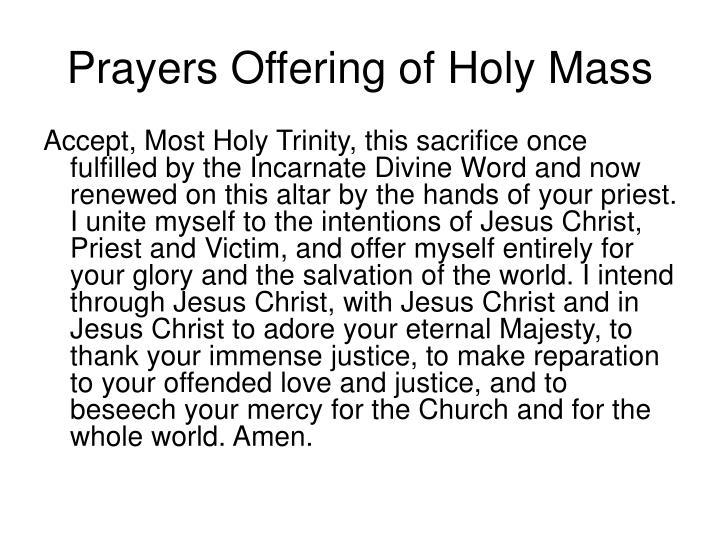 Prayers Offering of Holy Mass