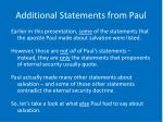 additional statements from paul