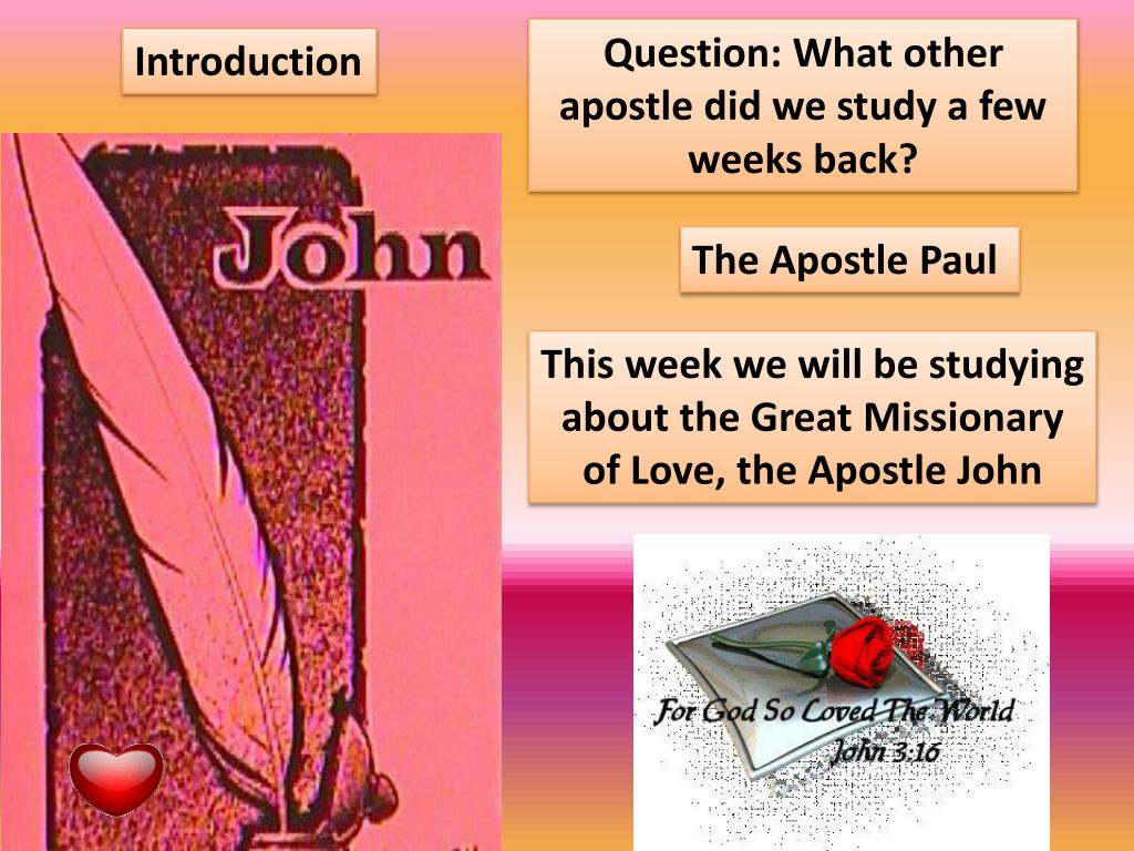 Question: What other apostle did we study a few weeks back?