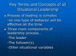 key terms and concepts of all situational leadership