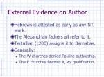 external evidence on author