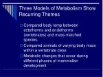 three models of metabolism show recurring themes
