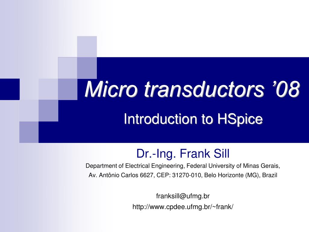 micro transductors 08 introduction to hspice l.