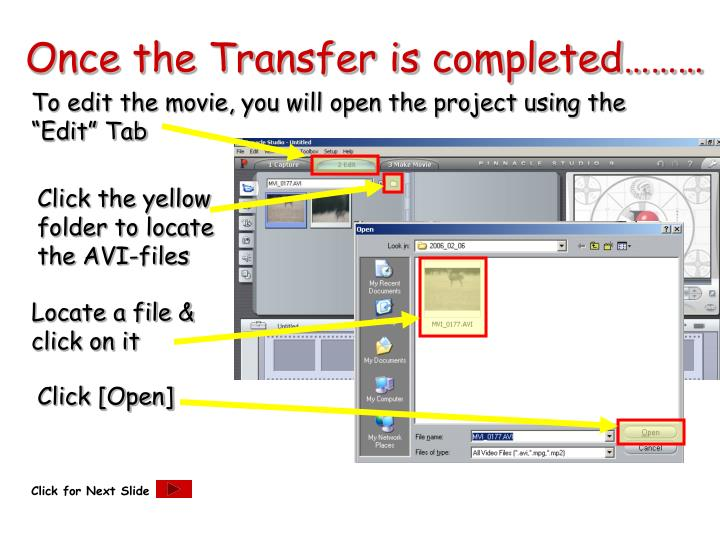 Once the Transfer is completed………