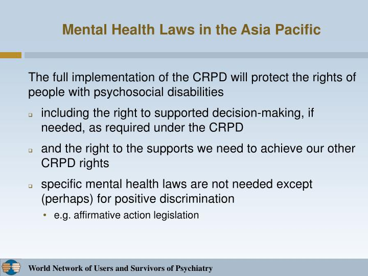 Mental Health Laws in the Asia Pacific