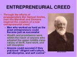 entrepreneurial creed