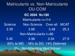 matriculants vs non matriculants ou com