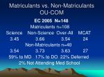 matriculants vs non matriculants ou com14