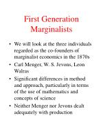 first generation marginalists