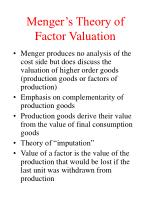 menger s theory of factor valuation