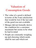 valuation of consumption goods6