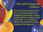 the ad hominem fallacy