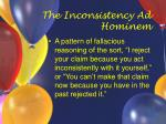 the inconsistency ad hominem