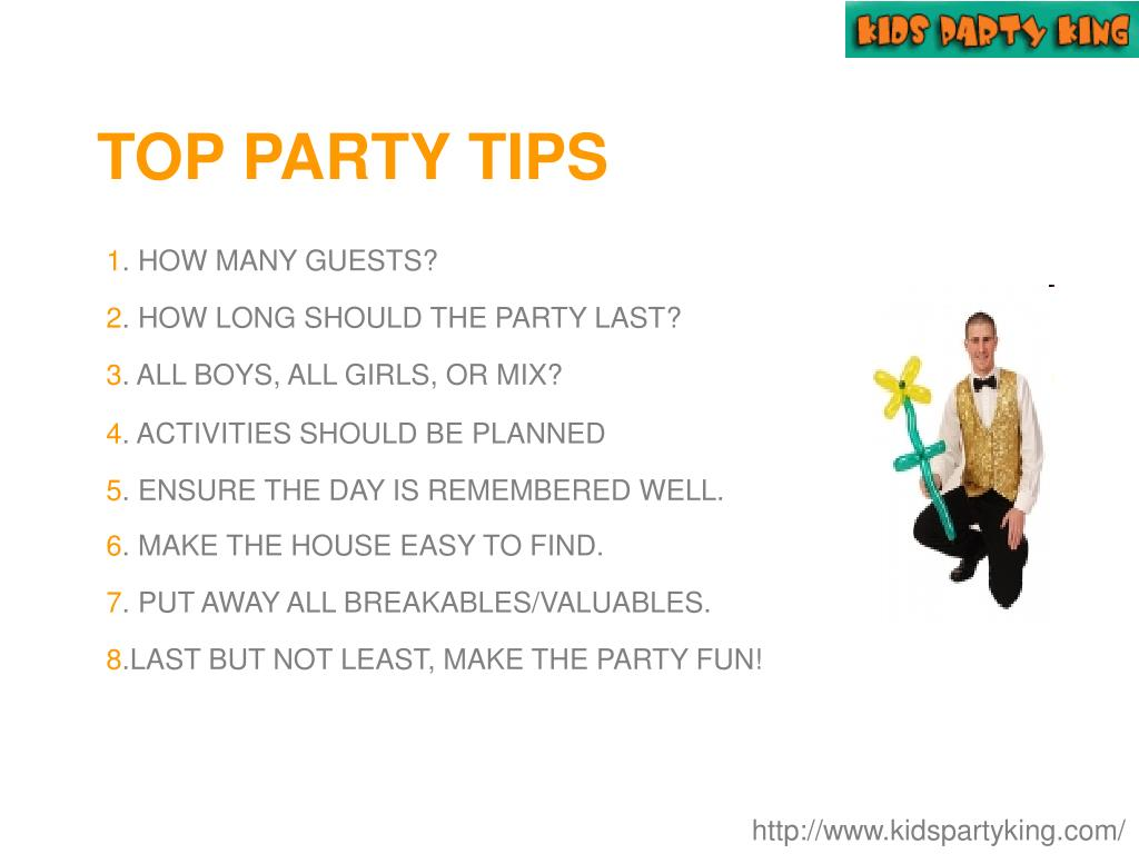 TOP PARTY TIPS