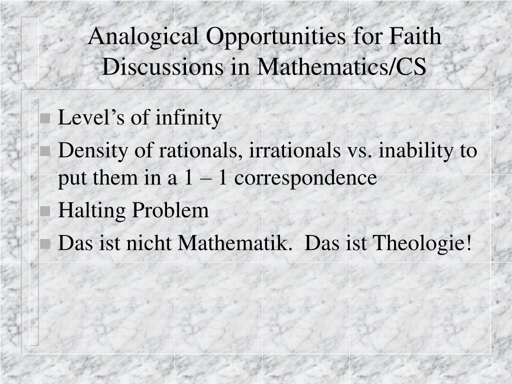 Analogical Opportunities for Faith Discussions in Mathematics/CS