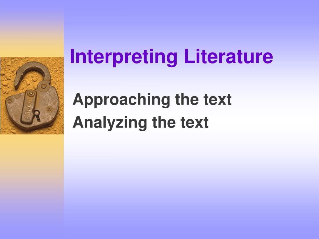 Interpreting Literature