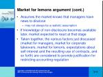 market for lemons argument cont